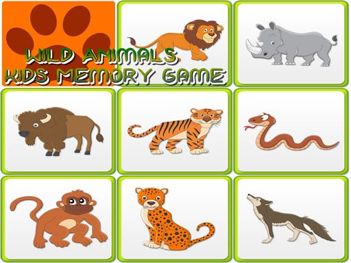 Kids Memory - Wild Animals Online