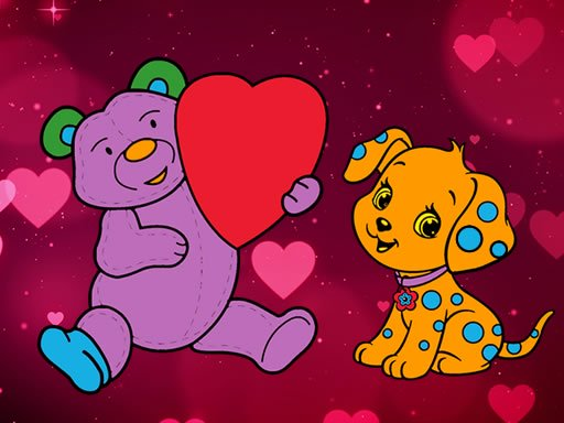 Valentine Pets Coloring Book Online